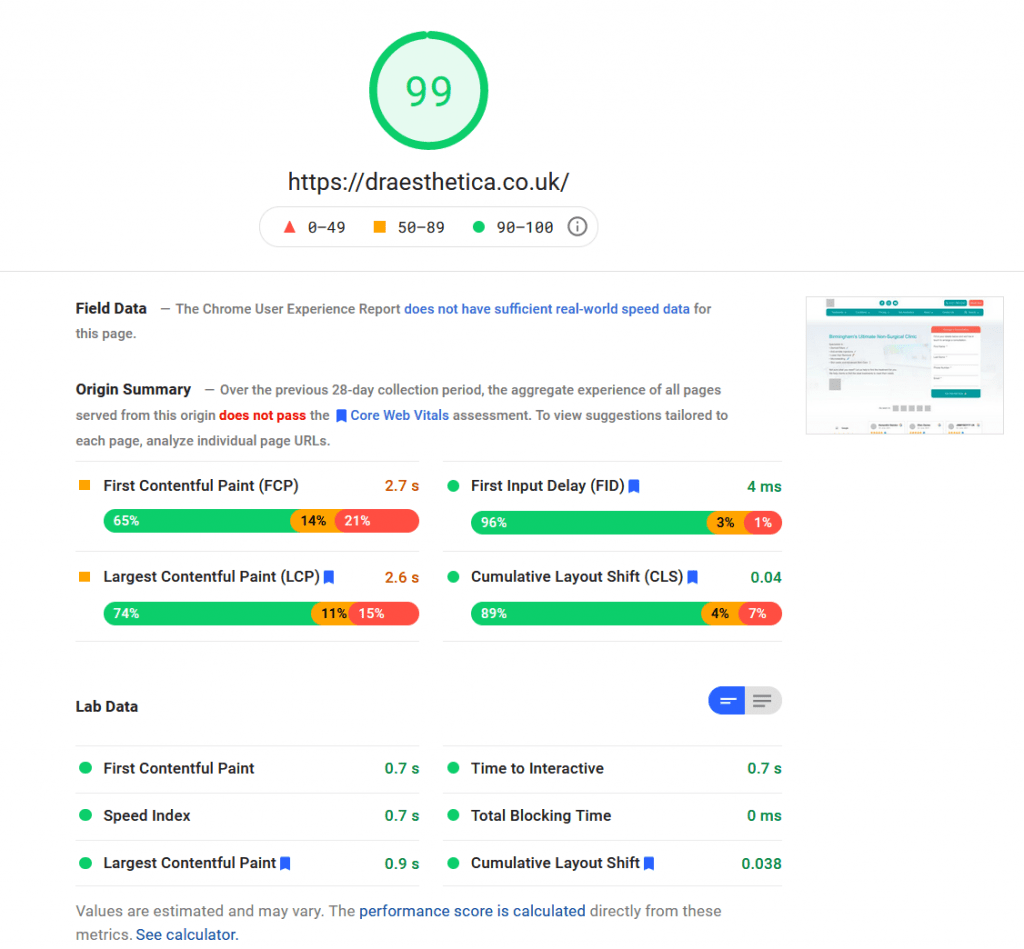 example of page speed result